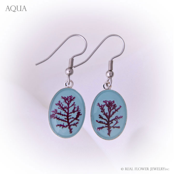 Aqua Algae Large Earrings
