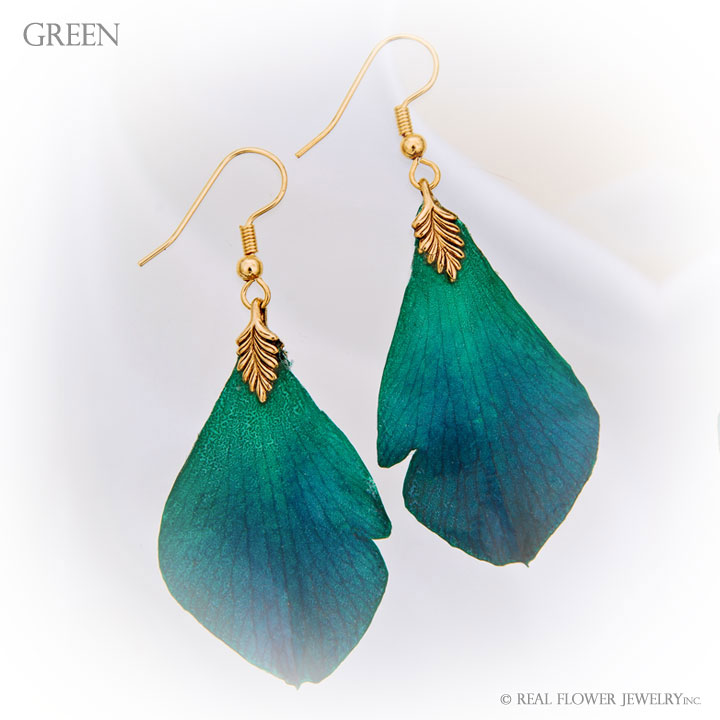 Green Petal Earrings
